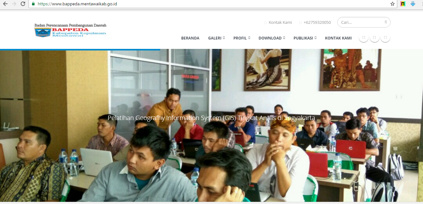 website Bappeda Mentawai